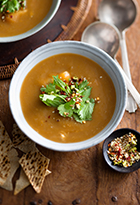 Moroccan Roasted Sweet Potato & Chicken Soup